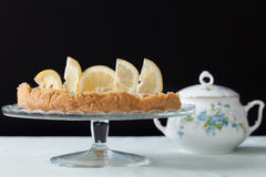 Cake Stand With Lemons Tart Stock Photo