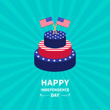 Cake with star and strip Two flags Sunburst background Happy independence day United states of America. 4th of July. Flat design Royalty Free Stock Image