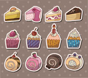 Cake stickers. Cute cartoon vector illusttration Royalty Free Stock Images