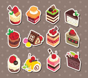 Cake stickers. Cute cartoon vector illusttration Royalty Free Stock Photo