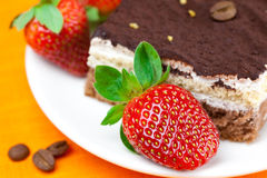 Cake and strawberries Royalty Free Stock Photo