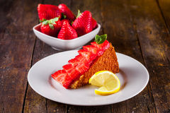 Cake with Strawberries Royalty Free Stock Photography