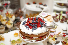 Cake with strawberries and blueberries Royalty Free Stock Photo