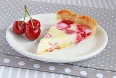 Cake with strawberries, cherries and cream Stock Photo