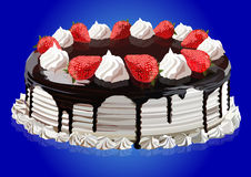 Cake with strawberries and chocolate. Cake with cream, strawberries and chocolate, vector illustration Stock Images