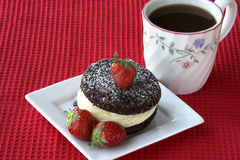 Cake with strawberries and coffee Stock Photo