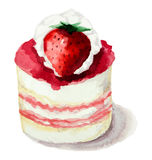 Cake with strawberries. Hand painted watercolor сake with strawberries. Vector illustration Royalty Free Stock Photos