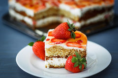 Cake with strawberries Stock Photo
