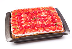 Cake with strawberries and mint Stock Image