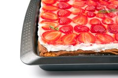 Cake with strawberries and mint Royalty Free Stock Photography