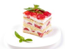 Cake with strawberries and mint Royalty Free Stock Image