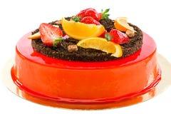 Cake with strawberries and orange slices. Stock Photo