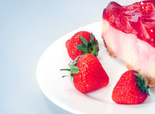Cake with strawberry Stock Photography