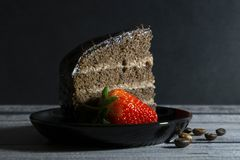 Cake and strawberry stock image