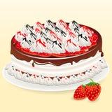 Cake, strawberry, chocolate Royalty Free Stock Photos
