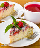 Cake with strawberry, chocolate and mint stock photography