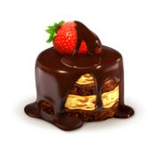 Cake with strawberry in chocolate Royalty Free Stock Images