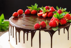 Cake with strawberry close-up Stock Photos