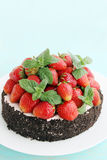 Cake with strawberry, copy space Royalty Free Stock Photos