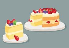 Cake Strawberry on Gray background illustration vector stock illustration