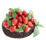Cake with strawberry, isolated on white Stock Photo