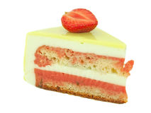 Cake with strawberry and lime  isolated on white Stock Images
