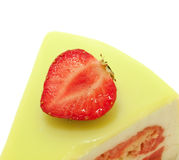 Cake with strawberry and lime. macro Stock Photo