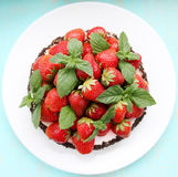 Cake with strawberry, top view Stock Photography