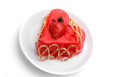 Cake with strawberry topping Royalty Free Stock Photo