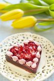 Cake with strawberry in Valentine's Day Royalty Free Stock Image