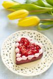 Cake with strawberry in Valentine's Day Royalty Free Stock Photography