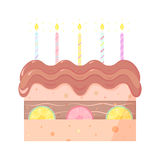 Cake with strawberry vector  illustration Stock Photos