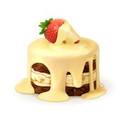 Cake with strawberry in white chocolate Stock Photo
