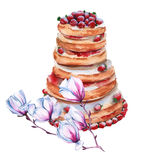 Cake in the style of Rostik`s strawberry mousse. insulated. watercolor illustration. Royalty Free Stock Images