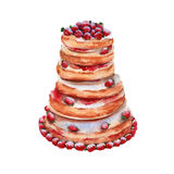 Cake in the style of strawberry mousse. insulated. watercolor illustration. Royalty Free Stock Photography