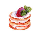 Cake in the style of strawberry mousse. insulated. watercolor illustration. Royalty Free Stock Image