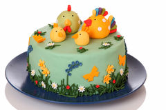 Cake. Sugar birthday cake with chicken, biddy and poult Royalty Free Stock Image