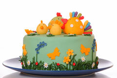 Cake. Sugar birthday cake with chicken, biddy and poult Stock Photos