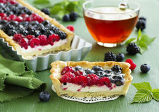 Cake with summer berries. Royalty Free Stock Photography