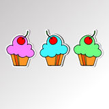 Cake sweet birthday cupcake delicious cream food vector dessert Stock Photos