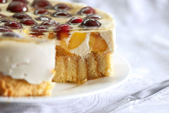 Cake with sweet cherries Royalty Free Stock Photo