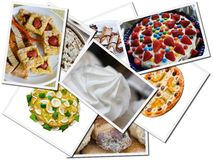 Cake and sweet postcards. Various Cake and sweet postcards Stock Image