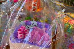 Cake, sweetness, cake with mastic, cake child 1 year stock image