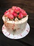 Cake. Sweetness. Sugar. Roses. Pink. Flowers Dessert.