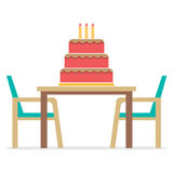 Cake On A Table With Chairs Royalty Free Stock Images