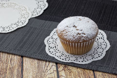 Cake on the table. Fresh muffins on wooden table in clear weather Stock Photo