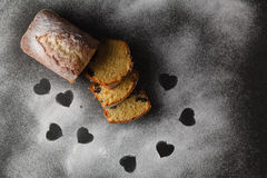 Cake on table with heart free space Stock Image