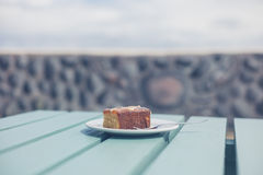 Cake on table outside Stock Image