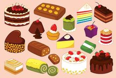Cake and Tart Variant Vector Illustration. For many purpose such as book illustration, print on stationery, canvas, clothes, etc. EPS 10 format file. Cartoon stock illustration