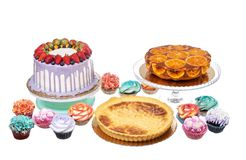 Cake, tarts and muffins are baked for the holiday. Stock Photography